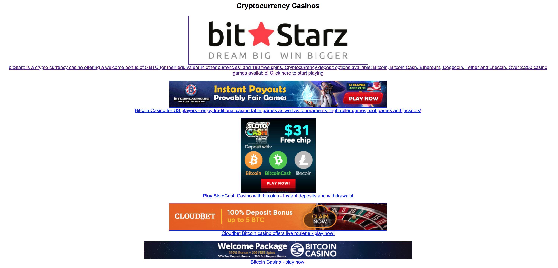 Online bitcoin casino bonus list
